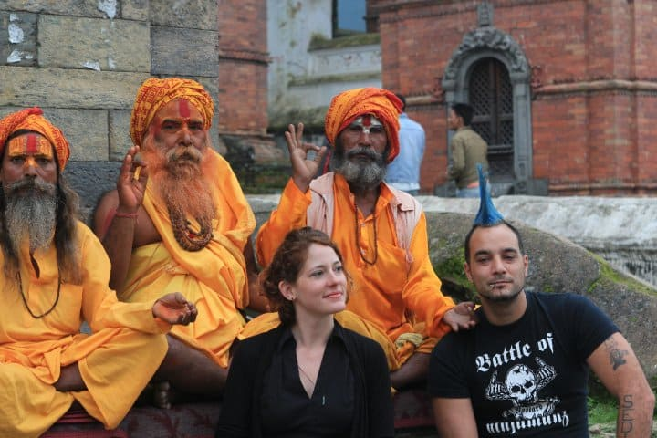 Nora filming a TV show in Nepal