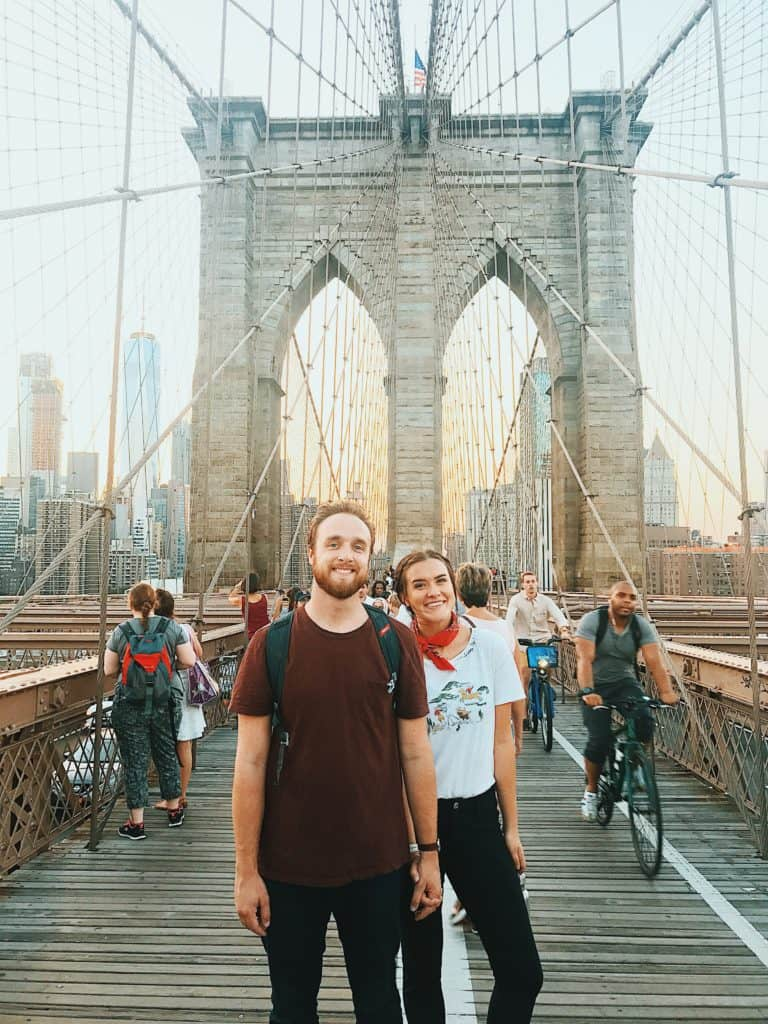 Mitch and Sarah of the Traveloars on the Brooklyn Bridge