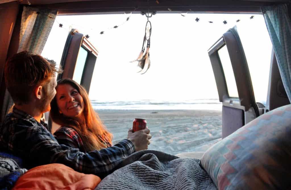 Two Wandering Soles Ben and Katie in their campervan