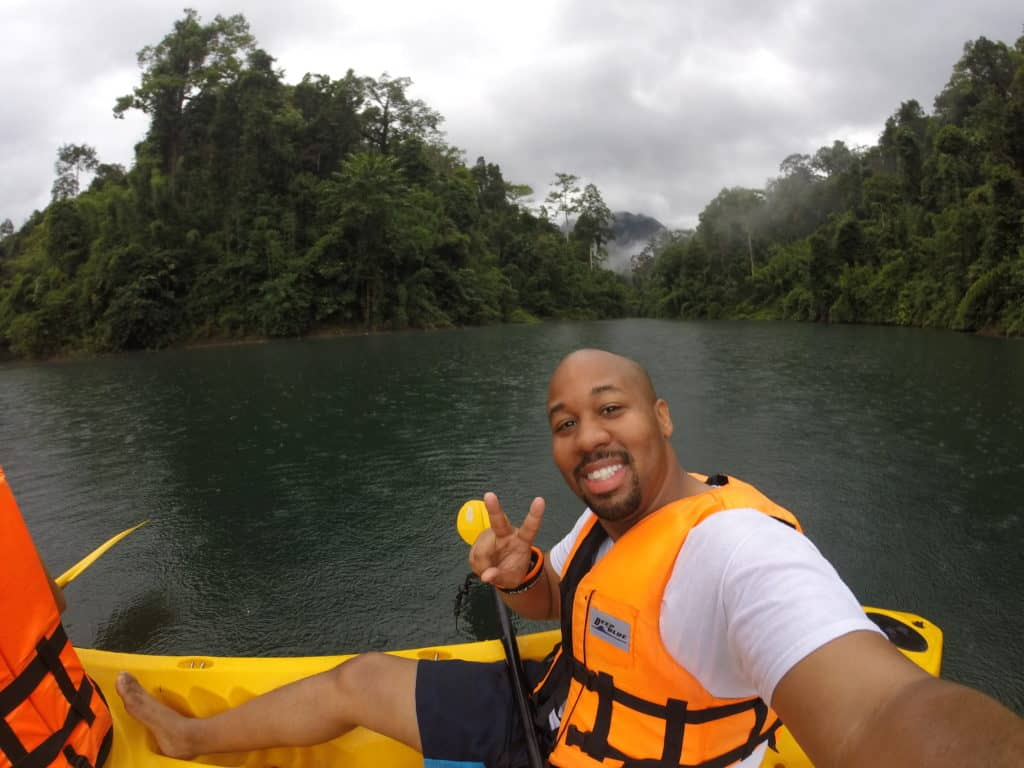 Erick Prince kayaking in Khao Sok