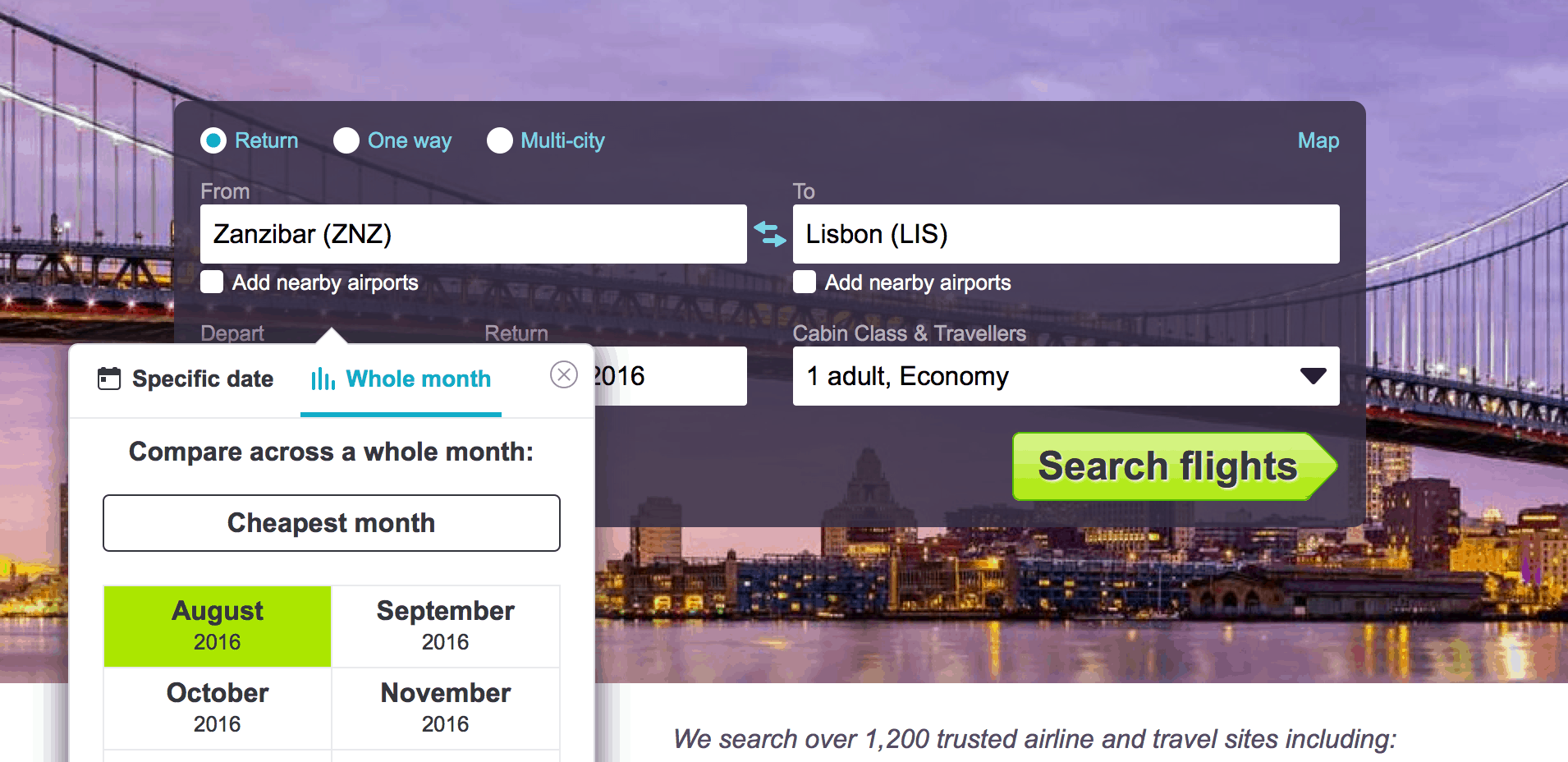 skyscanner whole month