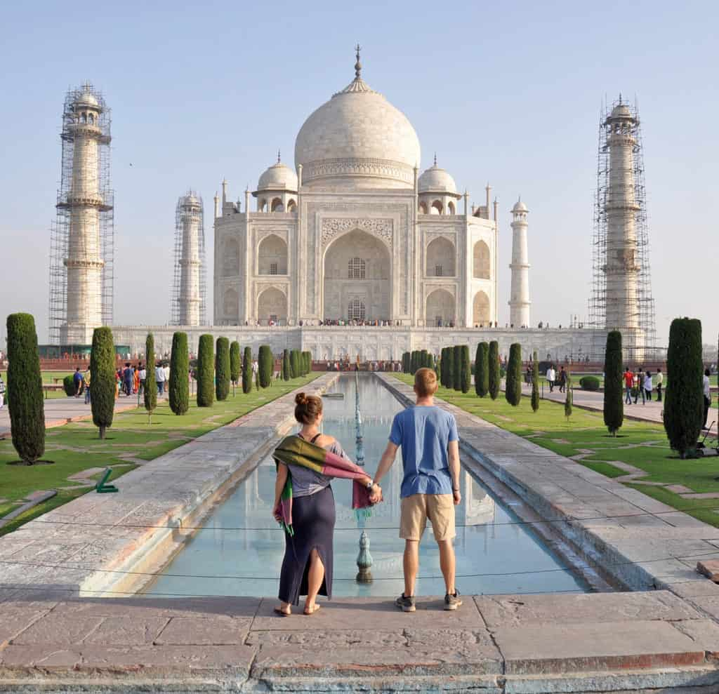 Ben and Katie in front of the Taj Mahal