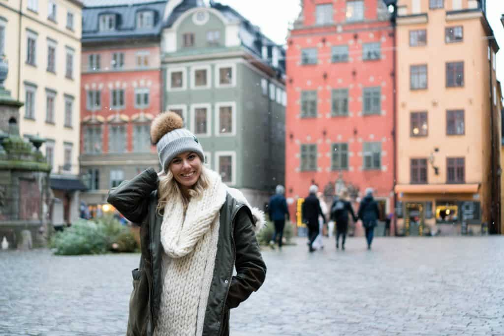 Posing in a square in Amsterdam