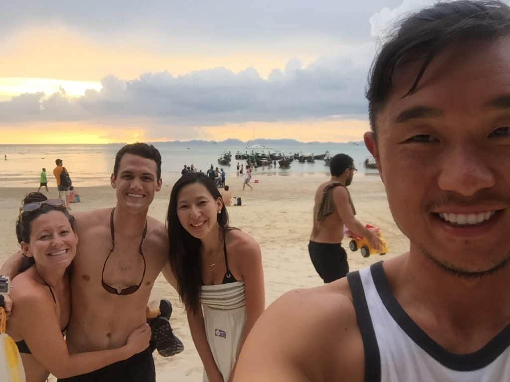 Ethan and Karis with Kara and Nate in Thailand