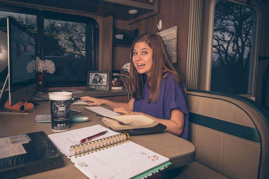 Alyssa working in the RV - photo cred Kyle Kesterson