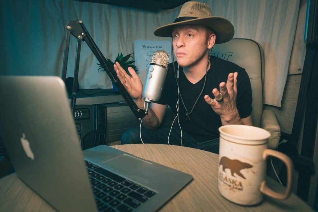 Heath recording his RV podcast - photo cred Kyle Kesterson